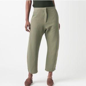 SAMUJI - Linen Wide Leg trouser Army Green, Small